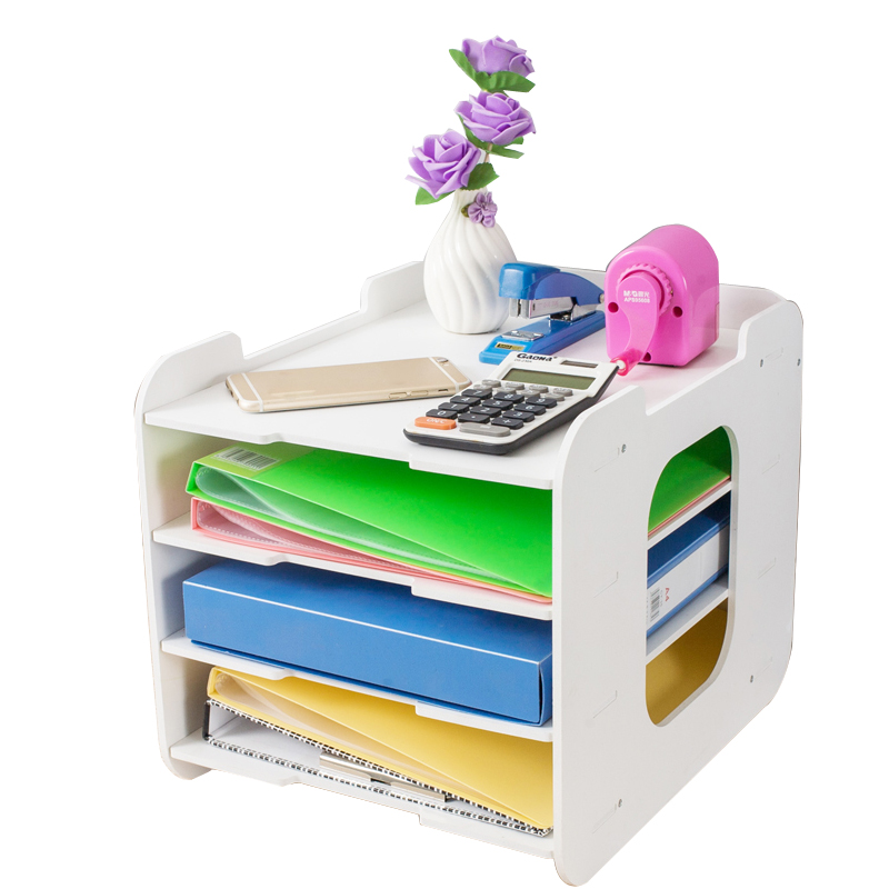Desk Organizer DIY Document Trays White File Holder 4 Layers Wood Paper Tray For Magazine Paper Stand Home Office List Supplies