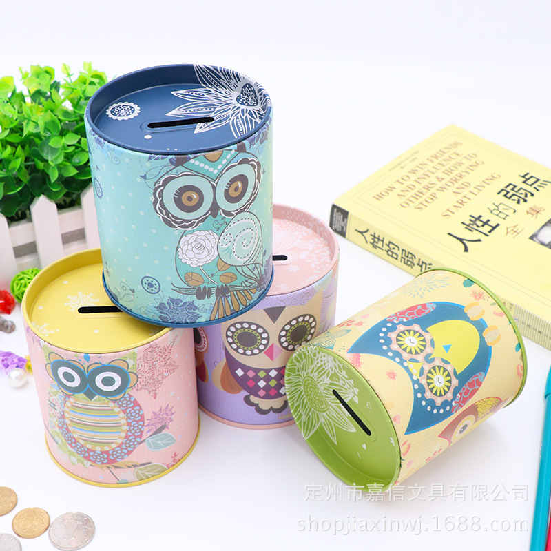 Money Box Money Bank Coin Box Moneybox Safe Box Money Owl Tinplate Piggy  Bank Customized Change Storage Pen Holder