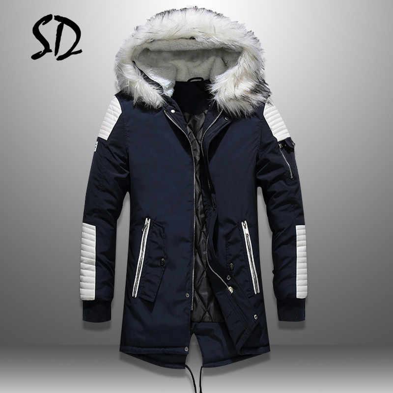 Plus Samt Männer Pelz Kragen Mäntel Winter Streetwear Dicke Herren Jacken Warme Mit Kapuze herren Parka Jacke PU Patchwork Outwear hoody