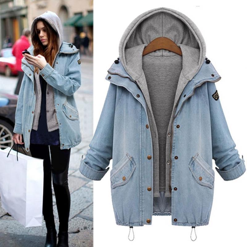 Spring Autumn Women Two Piece Hooded Jeans Jacket Suit Plus Size ...