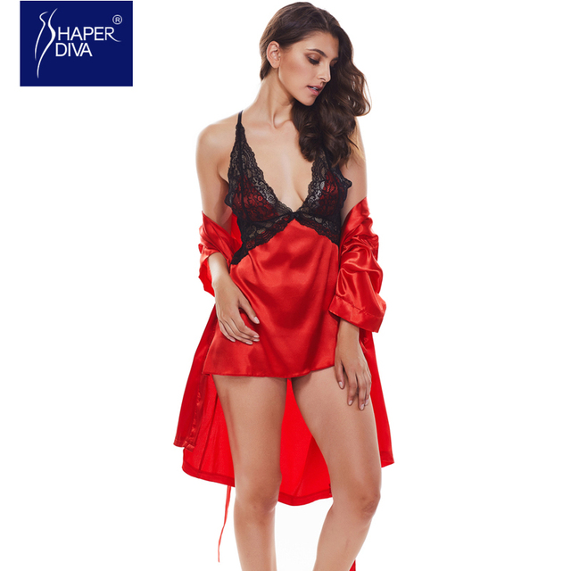 8f3b4fcbb738 Shaper diva Lingerie Set Nightgown Women Sexy Silk Stain Exotic Intimate  Set Nightdress Sleepwear Lingerie Set Lace Robe Sets
