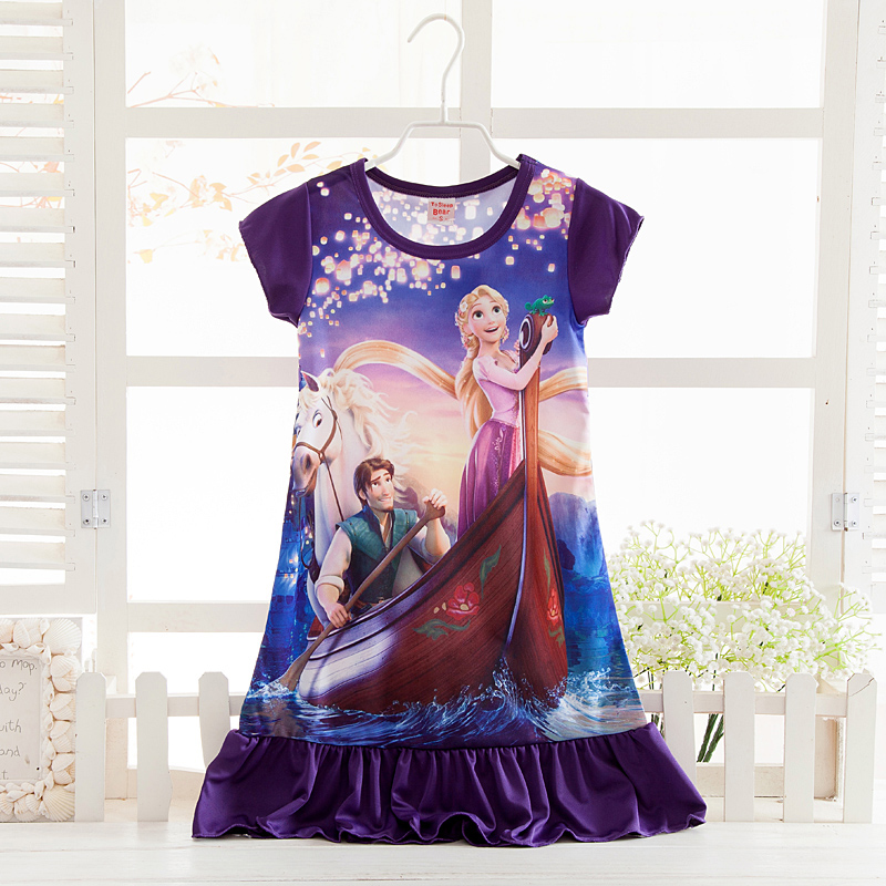 3-12Y Girls Short Sleeve Tangled Rapunzel Summer Dresses Kids nightdress Elsa Anna Princess party Clothes Nightgown Sleep Wear