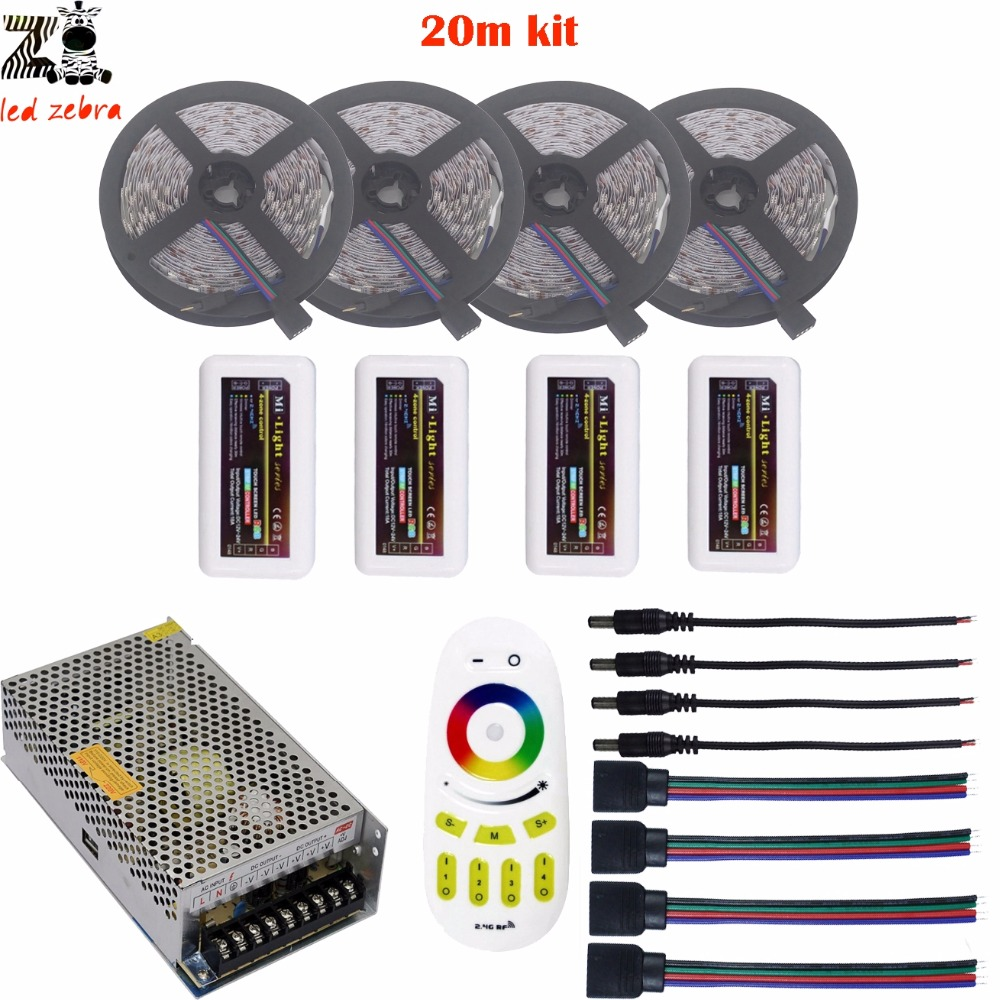 ФОТО Highlight 5/10/15/20m rgb 5050 led strip light dc12v+mi.light 2.4g remote controller+led controller+led power supply