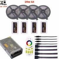 Highlight 5/10/15/20m rgb 5050 led strip light dc12v+mi.light 2.4g remote controller+led controller+led power supply