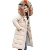 Large Fur Collar Velour Cotton Winter Jacket Women 2018 New Hooded Long Velvet Parka Slim Warm Padded Outwear Ladies Coats D083