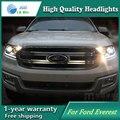 Carro de alta qualidade Styling Cabeça Da Lâmpada caso para Ford Everest 2016 LED DRL Daytime Running Luz Do Farol Bi-Xenon HID
