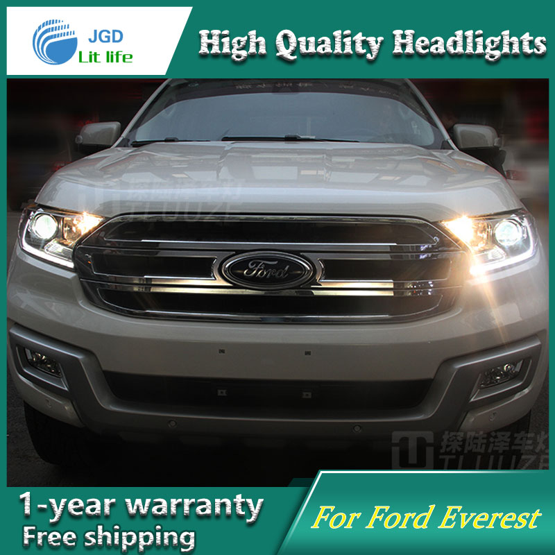 high quality Car Styling Head Lamp case for Ford Everest 2016 LED Headlight DRL Daytime Running Light Bi-Xenon HID