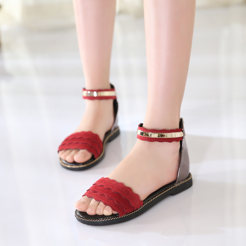 JD New Childrens Sandals, Girls Princess Shoes, Toe Sandals, High Heels, Performance Shoes