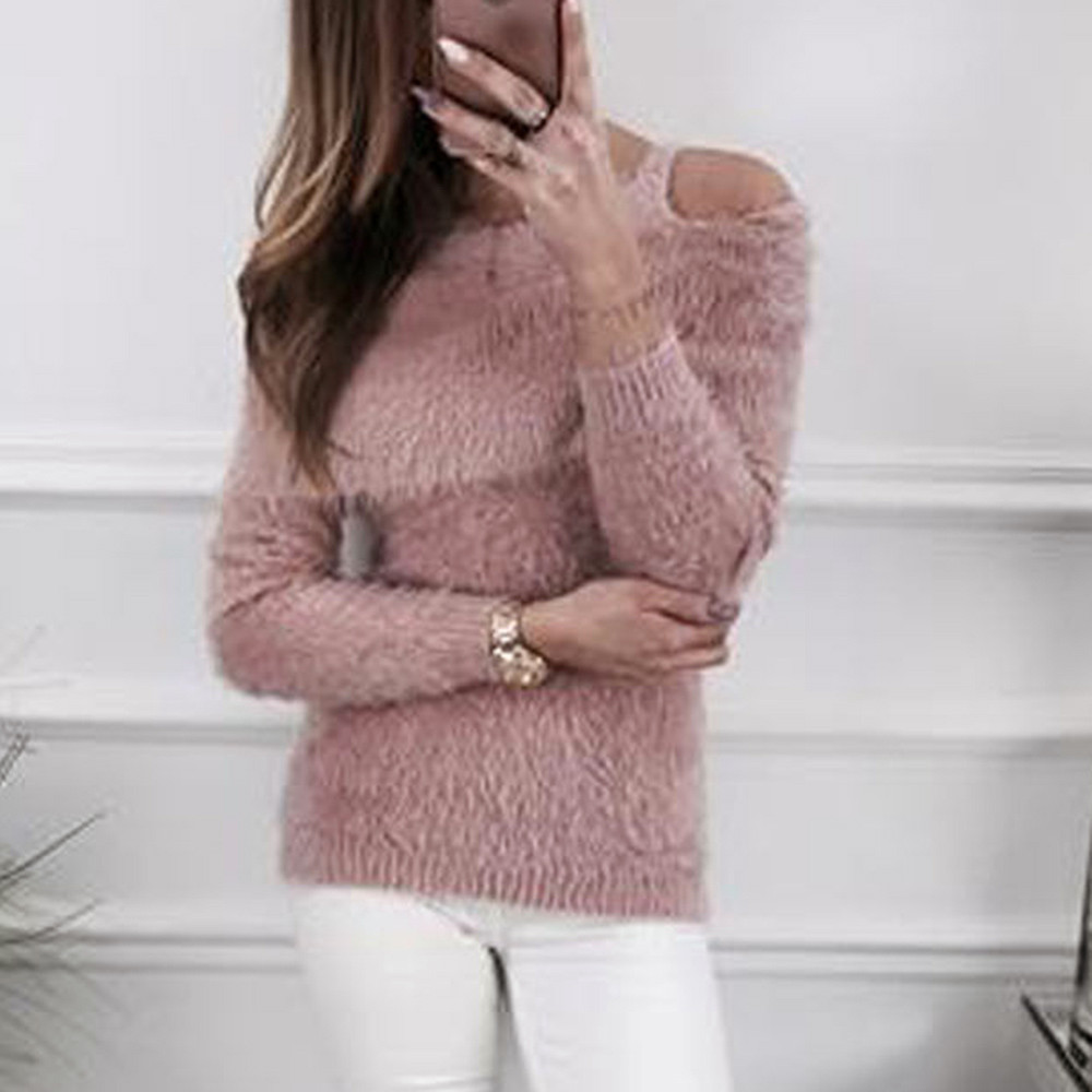 Women Mohair Sweater Off the Shoulder Solid Fluffy Jumper Cold Shoulder Long Sleeve Pullover ladies slim Tops Blouse F80