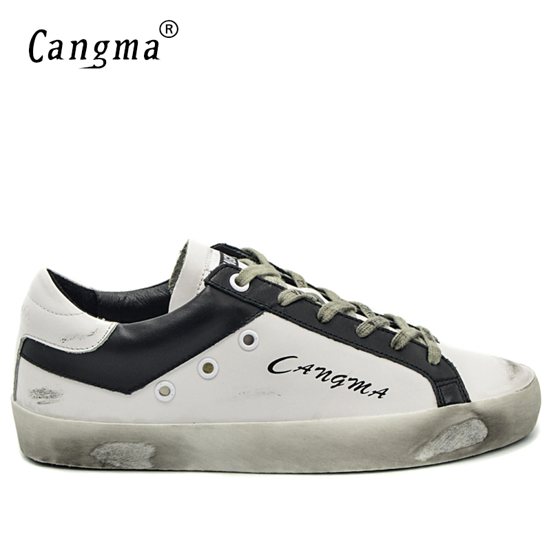 CANGMA Italian Designer Brand Sneakers Vintage Men's Casual <font><b>Shoes</b></font> Fashion Genuine Leather White Bass Breathable Male <font><b>Shoes</b></font> 34-48