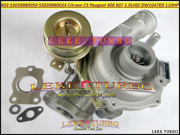 K03 50 53039700050 53039700024 53039880050 53039880024 Turbo Turbocharger For Citroen C5 For Peugeot 406 607 2.0L HDi DW10ATED turbo cartridge chra core gt1544v 753420 740821 750030 750030 0002 for peugeot 206 207 307 407 for citroen c4 c5 dv4t 1 6l hdi
