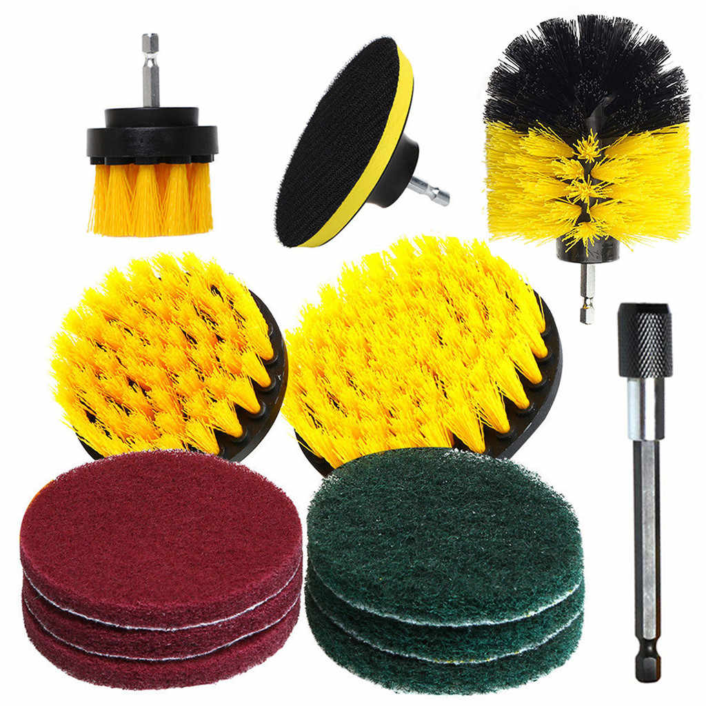 Drill Brush Scrub Pads 12 Piece Power Scrubber Cleaning Kit All Purpose Cleaner Scrubbing Cordless Drill for Cleaning Pool
