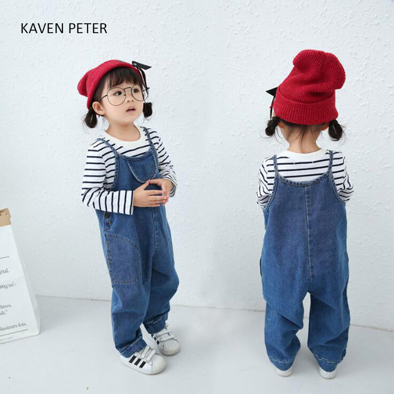 Children Overall Pants 2017 Autumn spring Baby Boys Pants Kids Jeans Overalls Jumpsuits Cotton girls Denim overalls blue 2-6 fashion kids overalls jeans for girls 4 6 8 10 12 years kids blue cartoon cat denim cotton pants girls rompers for autumn 5m14