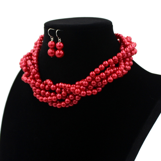 Multi Layers Simulated Pearl Bead Necklace And Earrings Set Costume Jewelry Accessories Aliexpress Uk Jewellery 5 Colors