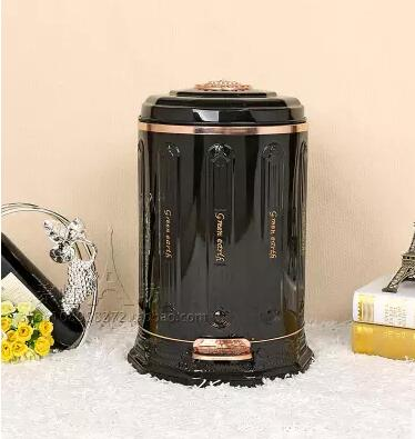 Luxury Black Stainless Trash Bin With Plastic Bucket In It Metal Waste For Bag Holder Can Kitchen Ljt018 Bins From Home Garden On