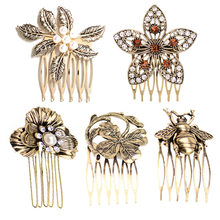 New Style Vintage Diamond Hair Clip Comb Gold Color Leaf Hair Comb Hairpins Women Wedding Festival Hair Styling Accessories(China)