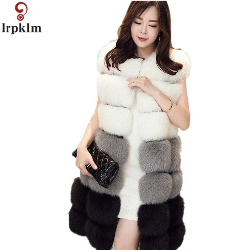 Marques fausse fourrure sans manches manteau femmes 2018 hiver Cardigan haute Imitation fourrure veste femme fourrure pardessus vêtements d'extérieur décontractés CH410
