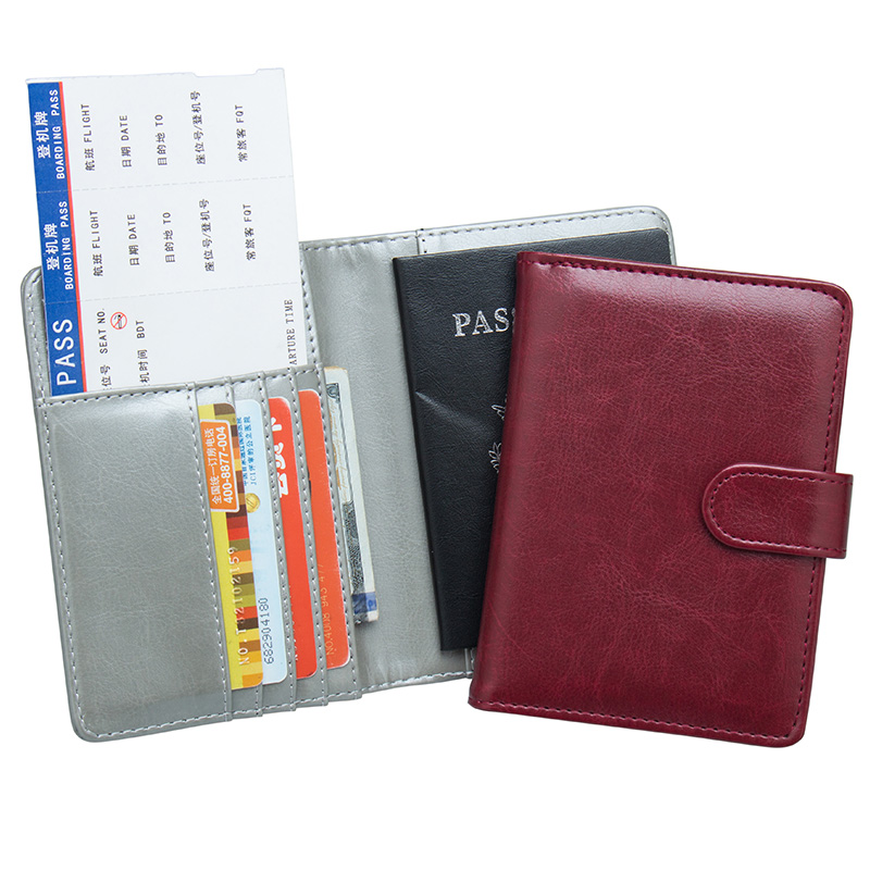 Solid Oil Dark Red Pu Leather Passport Holder Built In Rfid Blocking Protect Personal Information Card & Id Holders custom Available