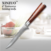 XINZUO 6″ inch boning knife High quality Japanese VG10 Damascus kitchen chef knife Color wood handle kitchen tool free shipping