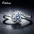Banhado a prata anéis para as mulheres do Vintage jóias AAA CZ de noivado de diamante casamento bague para feminino Bijoux estilo quente VSR049