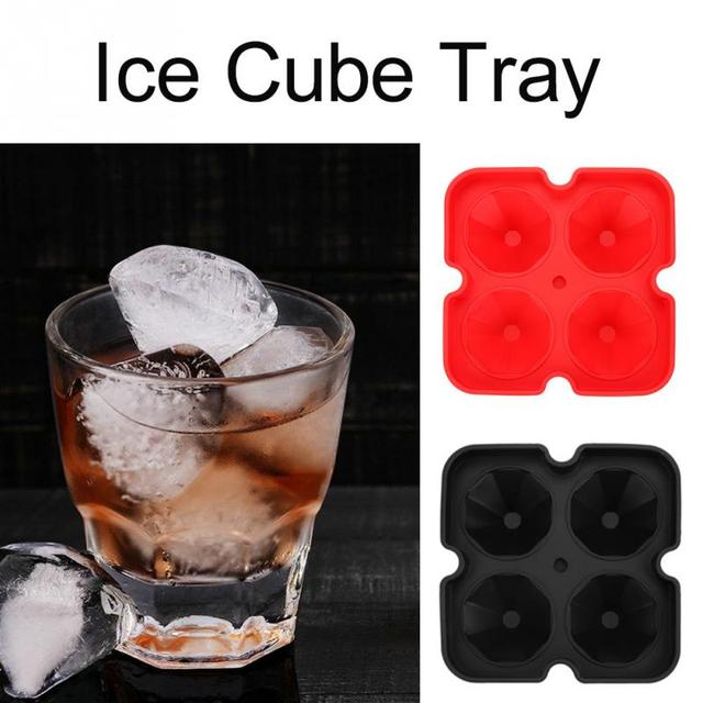 Ice Ball Maker Silicone Ice Molds Maker Ice Cube Tray 4 Large Kitchen Bar Accessories Cocktail Whiskey Diamond Shape