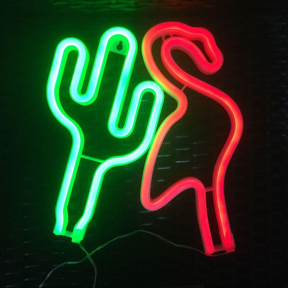 LED Decorative Neon Light Flamingo Cactus Night Light For Party Home Office Bar Hotel Bedroom Baby Room Decoration Kids Gifts