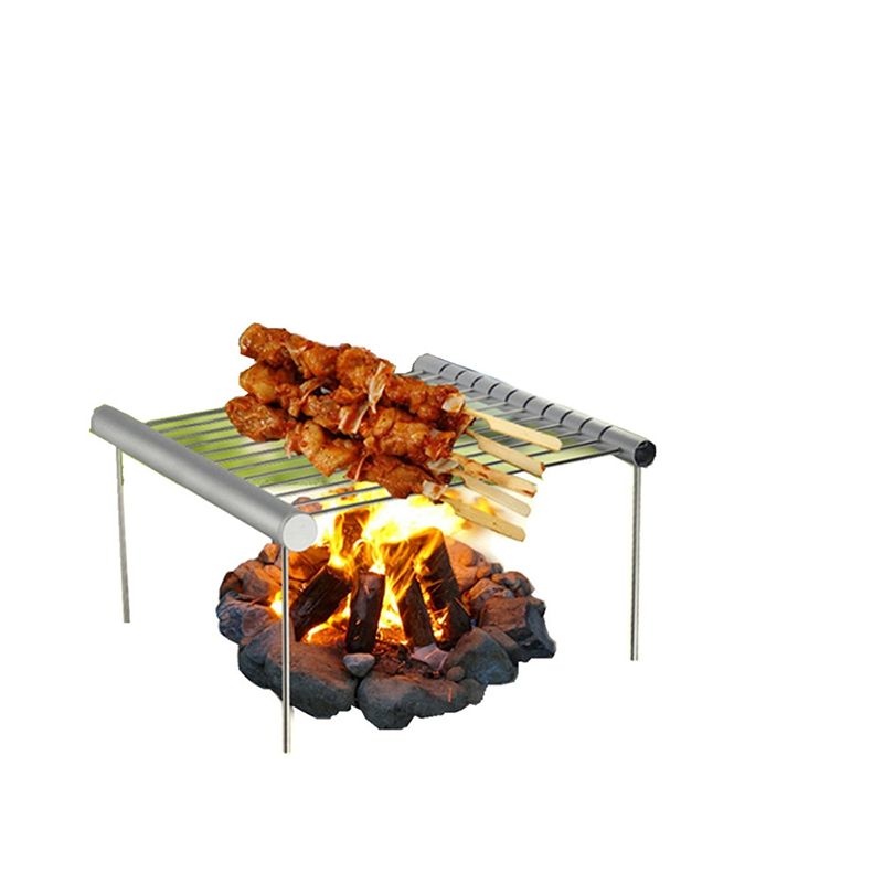 Foldable Stainless Steel BBQ Grilling Rack Stainless Steel BBQ Skewers Picnic Barbecue Cooking Tool outdoor yard party