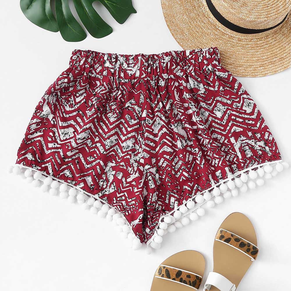 Womail Women Pants Shorts Summer Printed Loose Hot Pants Lady Beach Trousers Casual Short Pant Daily Denim Color Dropship J23