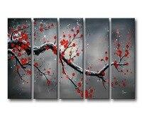 Valorizar a Arte 100% Pintada À Mão Pinturas A Óleo Florescendo Ameixa Vermelha 5 Painéis De Parede Arte Abstrata Moderna Para A Decoração Home