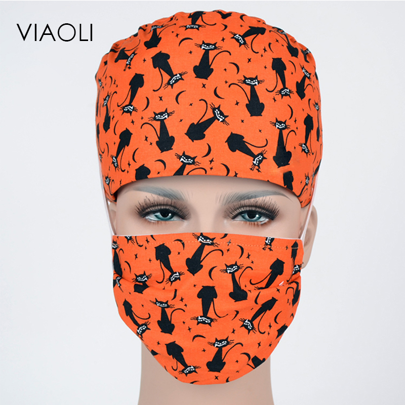 Ambitious Viaoli Europe And The United States Cotton Operating Room Printing Hat Doctor Nurse Working Cap Fashion Black Cat Relieving Rheumatism And Cold Work Wear & Uniforms