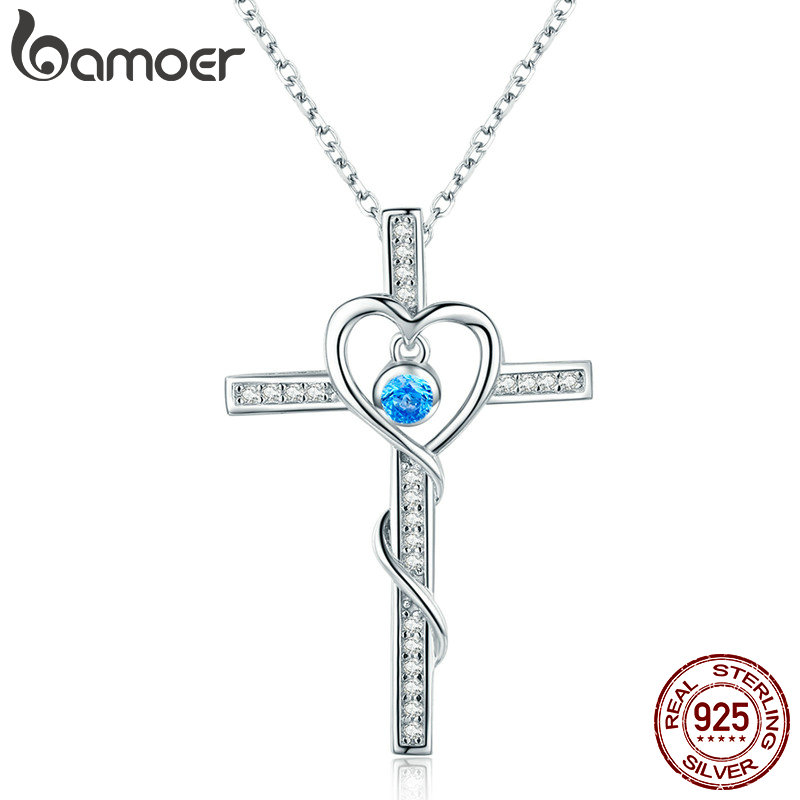 BAMOER Classic 100% 925 Sterling Silver Love Heart with Cross Pendant Necklaces for Women Sterling Silver Jewelry Gift SCN240 wostu 2018 luxury brand 925 sterling silver heart love pendant necklaces for women with aaa zircon jewelry gift for lover cqn025