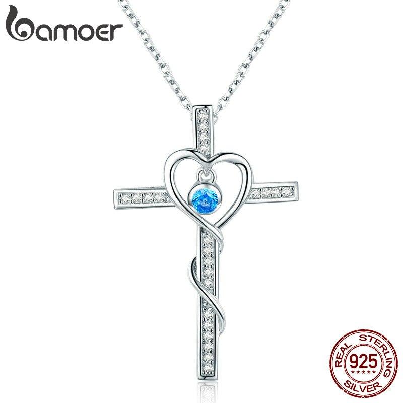 4e2932cab475 BAMOER clásico de 100% de Plata de Ley 925 de corazón de plata con colgante  collares para mujeres joyería de plata esterlina