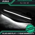 PUIYUE Car styling Freeshipping New 9600Lm For 2011-2014 Kia K5 Car Headlight  Angel Eyes LED Eyebrow Daytime Running Light