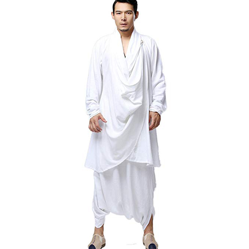 LZJN Buddhist Meditation Men s Tops Traditional Clothing Chinese Kung Fu Set Cotton Linen Blouse Elastic