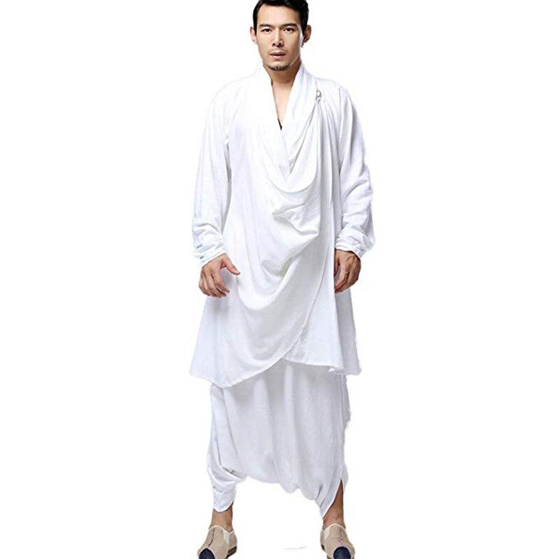LZJN Buddhist Meditation Men's Tops Traditional Clothing Chinese Kung Fu Set Cotton Linen Blouse Elastic Waist Pants Loose Shirt