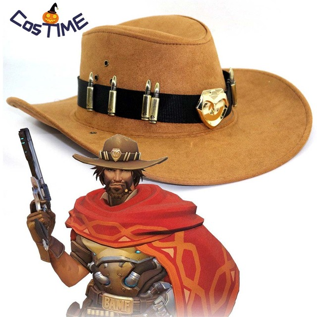 f3c9014a2d072 Mccree Cowboy Hat With Metal Copper Badge Bullet Crafts Costume Adult Hot  Game West Cowboy Hat Prop Accessories Halloween Gift