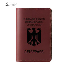 Red Color Germany Passport Cover Multi Card Holders Cow Leather Germany Travel Custom Inscription Gifts Women Passport Holder(China)