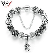 VRf European Women Charms Bracelets DIY Butterfly Beads Bracelet & Bangles Gifts for Girl Silver Heart Jewelry for Lover(China)