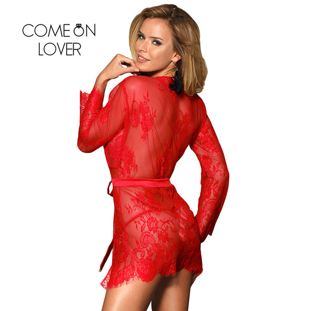 Comeonlover Sexy Lingerie Robe Sex Clothes For Women Plus Size Nightwear Black Lace Sexy Costume Dessous Sexy Hot Erotic RI80552 2