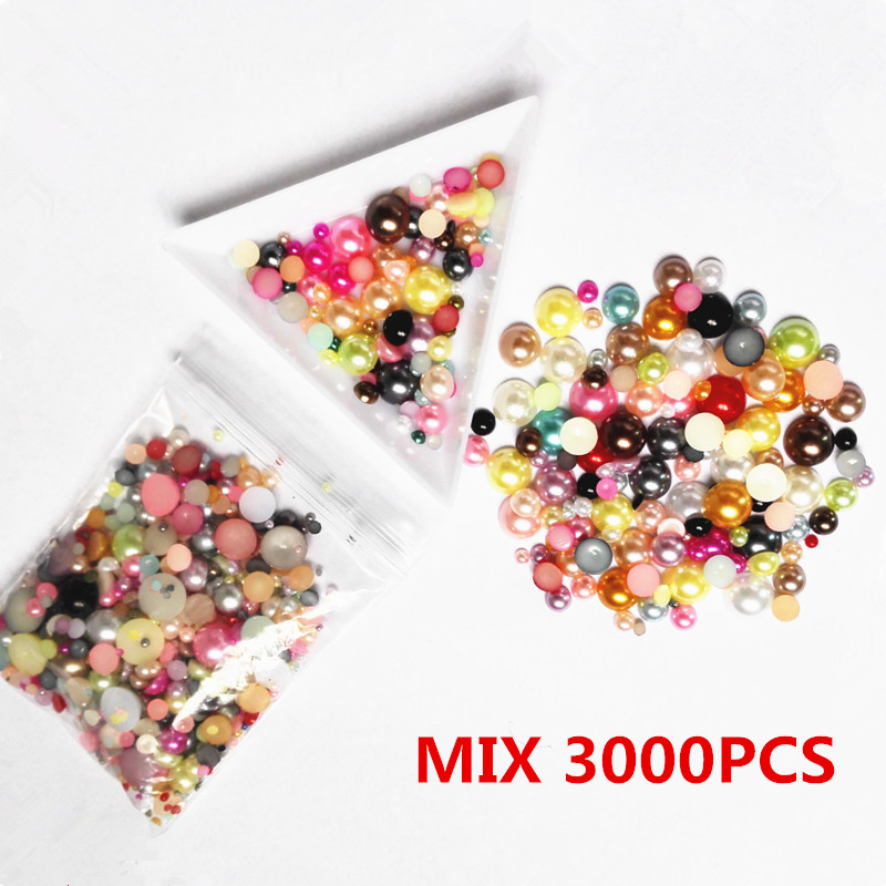 Mixed size 3000pcs/pack fullcolor Imitation Pearls Half Round Flatback Resin Scrapbook Bead Decorate Nail Art ABS Pearl For Nail mixed flat back pearls mixed size nail pearls for nails acrylic nail supply nail art rhinestone decorations new arrive zj1233