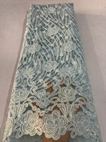 2018 High Quality African Lace Fabric Sky blue French Net Embroidery Sequins Tulle Lace Fabric For Nigerian Party Dress
