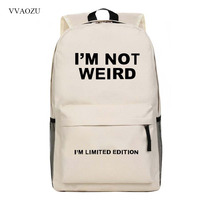 Customized Stay Weird Letters Printing Backpacks Boys Grils Students Schoolbag Casual Funny Rucksack Shoulder Bags