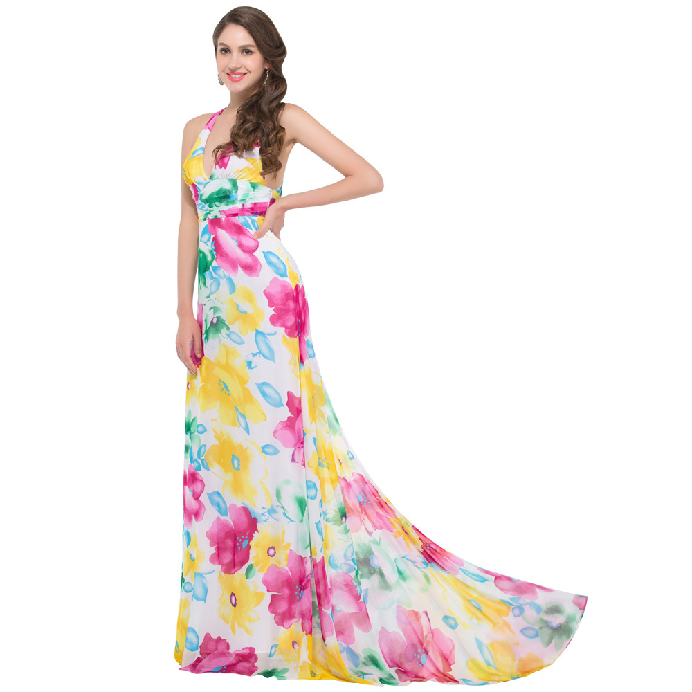 d4d97c5f545c Real Photos Stock Backless Print Floral Evening Dresses Beach Summer Women Long  Dress Robe de Soiree Party Gown GK020-in Evening Dresses from Weddings ...