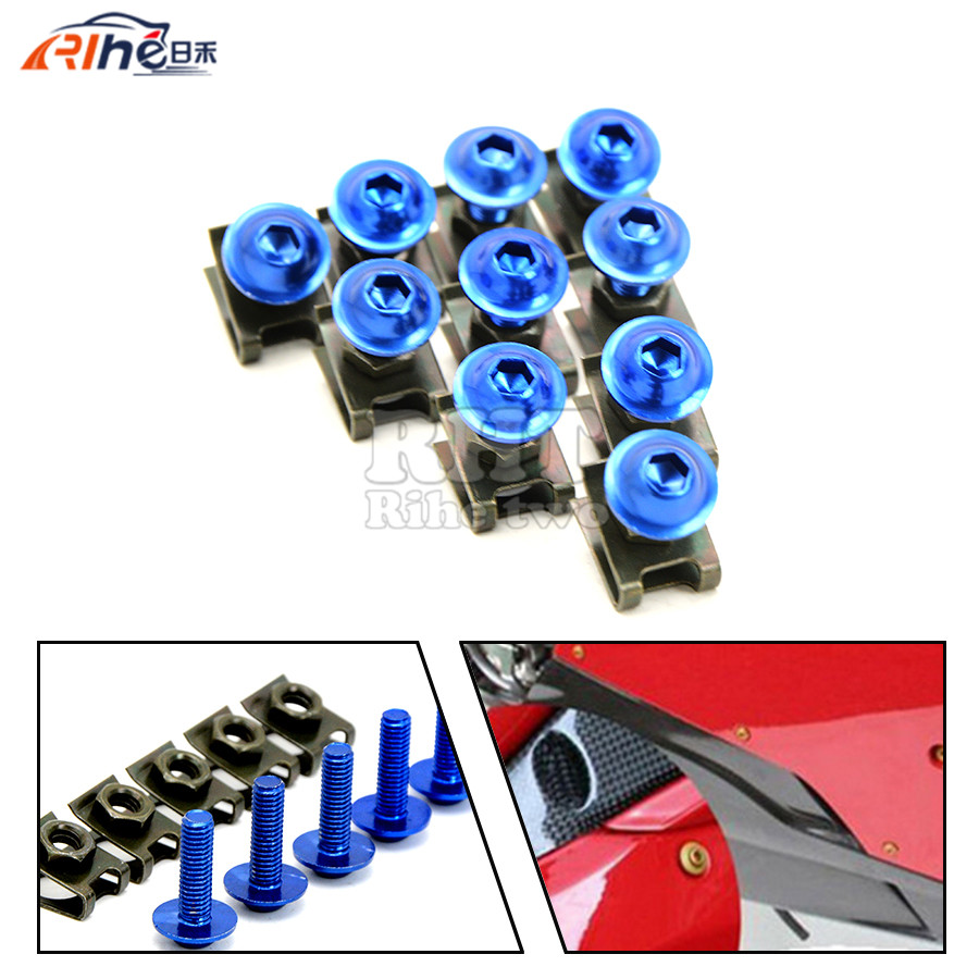 10 pieces 6mm motorcycle fairing body screws For honda yamaha Kawasaki z750 Z800 Z1000 Suzuki Ducati XT660 WR250 WR125 new universal brand motorcycle accessories fairing body work bolts screws for suzuki m109r boulevard ducati diavel the devil