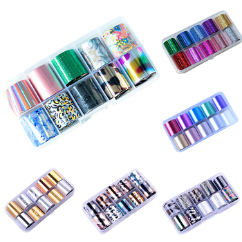10Rolls/Set 10M Glitter Nail Art Foils Laser Tips Stickers DIY Manicure Decorations nail sticker Nails Art Decorations image