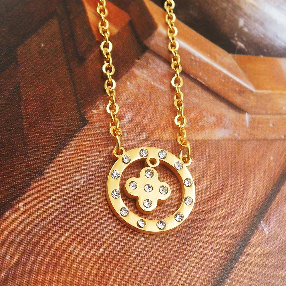 82dd14743361 316L Acero inoxidable ZIRCON flor lujoso cristal redondo colgante collar de  acero inoxidable moda joyería