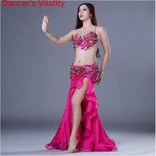 ביצועים רקדנית של חיוניות נשים אלגנטי בטן ריקוד תלבושות בנות 2pcs חזייה + חצאית סלוניים ריקוד חליפת M,L ליידי סגנון ללבוש