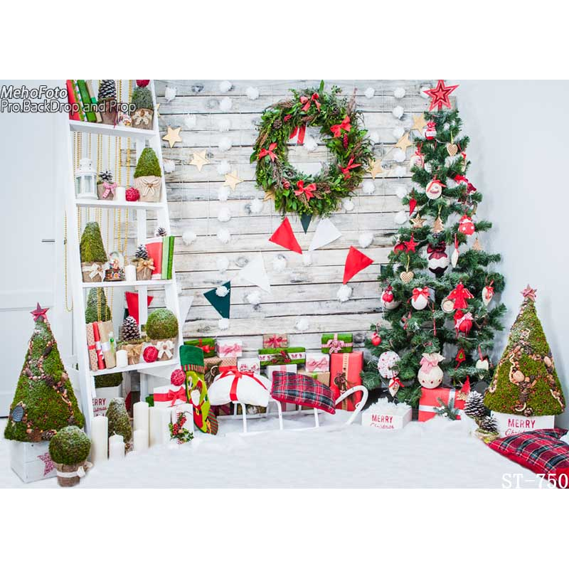 7X5ft Christmas style Wallpaper Children Baby Photography Backdrops Vinyl Background for Photo Studio Christmas Backdrops ST-750 mehofoto 8x12ft vinyl photography background christmas theme backdrops light for children snow for photo studio st 328