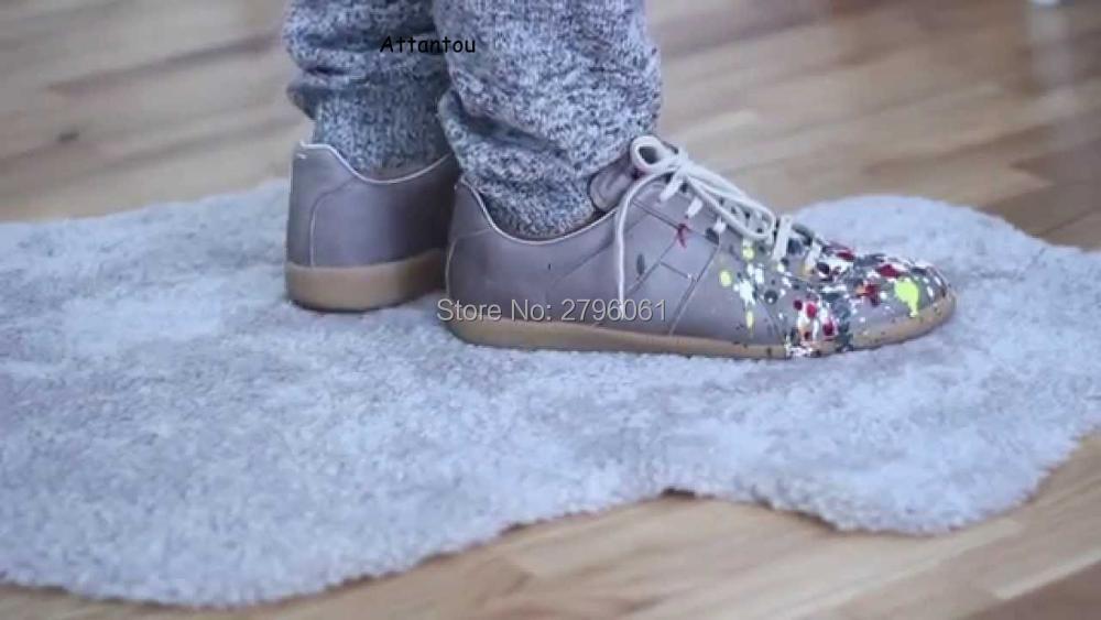 купить Low top Paint Splatter men casual shoes graffiti lace up leisure shoes rubber bottom spring autumn male shoes original leather недорого