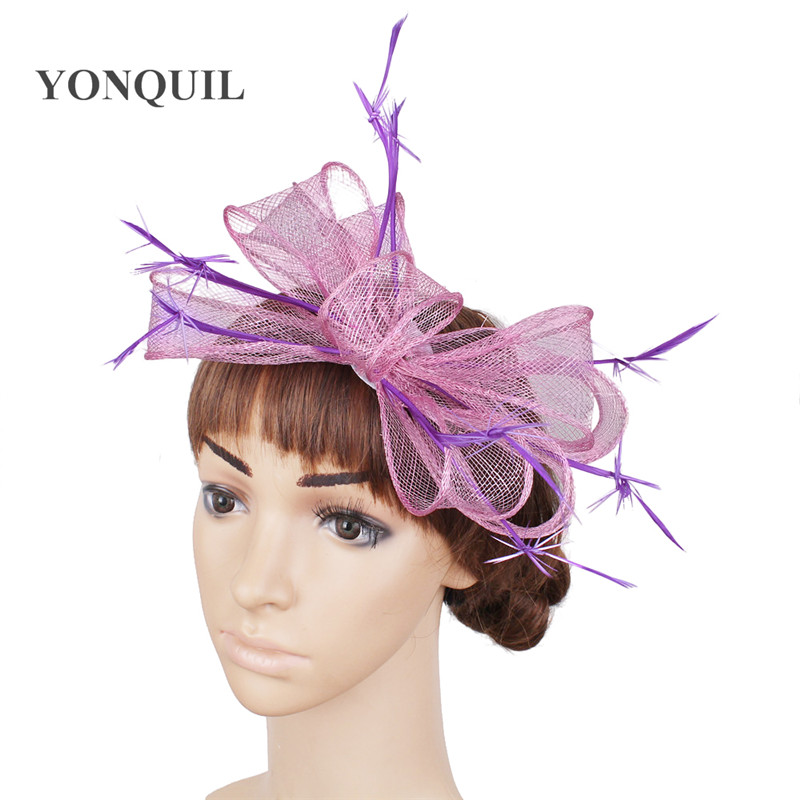 NEW 21 colours Heather lavender light purple Spring sinamay fascinator Feather hats for Kentucky derby wedding church hair combs ...
